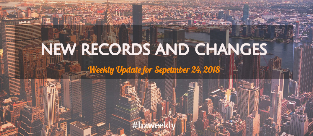 New Records and Changes - Weekly Update for September 24