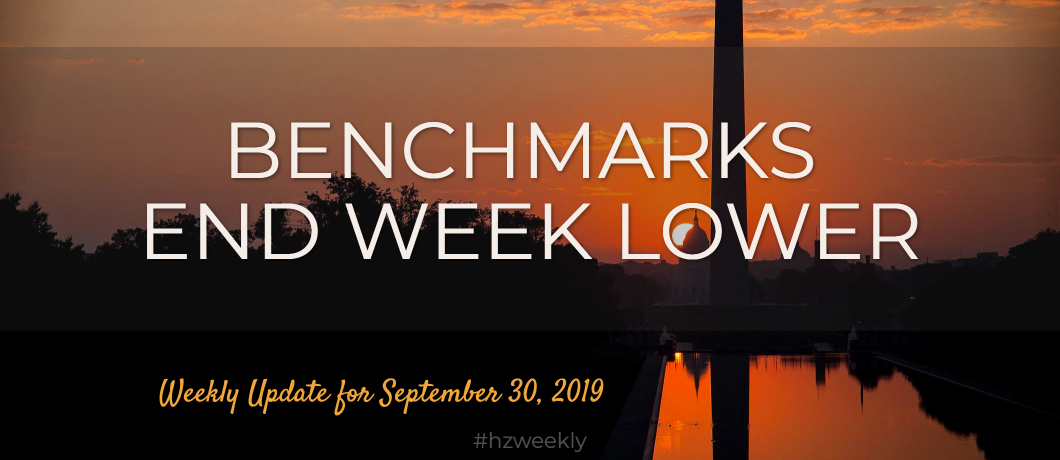 Benchmarks End Week Lower – Weekly Update for September 30, 2019