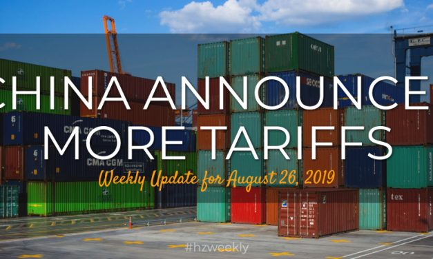 China Announces More Tariffs – Weekly Update for August 26, 2019