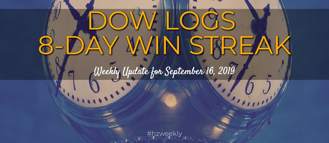 Dow Logs 8-Day Win Streak – Weekly Update for September 16, 2019
