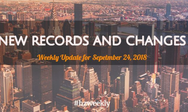 New Records and Changes – Weekly Update for September 24, 2018